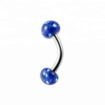 16g epoxy cover blue ferido ball curved barbell eyebrow piercing stud