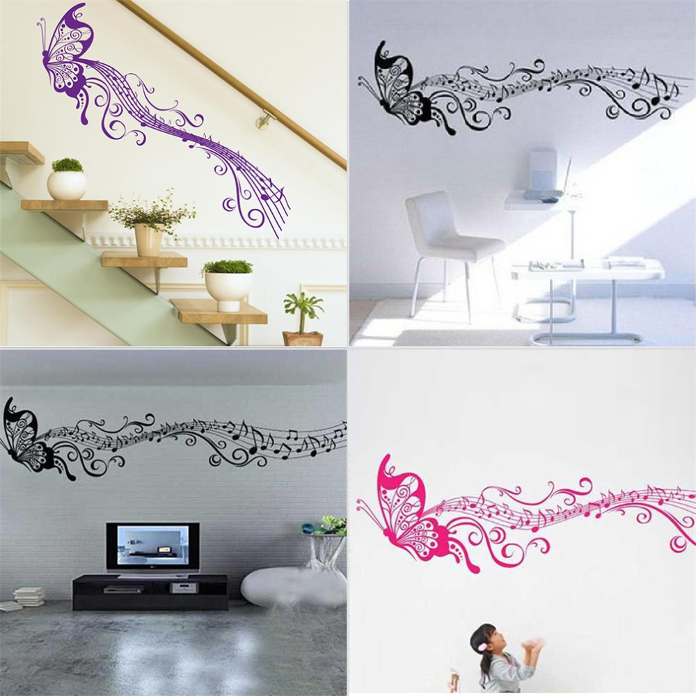 2016 Hot Large Fashion Art Wall Sticker <font><b>Elegant</b></font> Cartoon Music Note Butterfly Removable DIY Art Vinyl Decal for <font><b>Home</b></font> <font><b>Decoration</b></font>