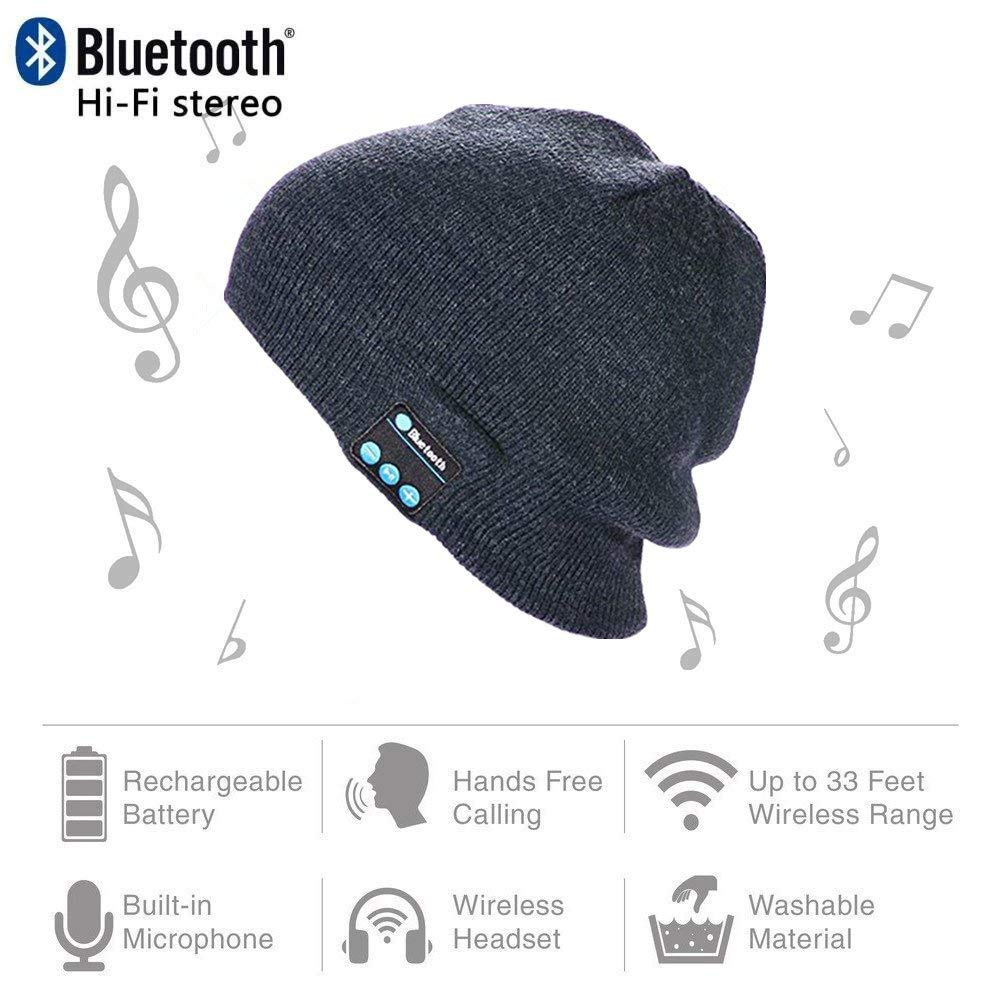 BearsFire® Fashion Wireless Bluetooth Knit Hat Receiver Headphone Speaker Microphone Beanie Hat Cap Headphone Headset Earphones MP3 Speaker Music Player for Men Women Gift (Dark Grey)