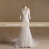 MRY0028 Ivory pearls real wedding gown sweetheart tulle lace mermaid wedding dress lace off shoulder mermaid wedding dress real