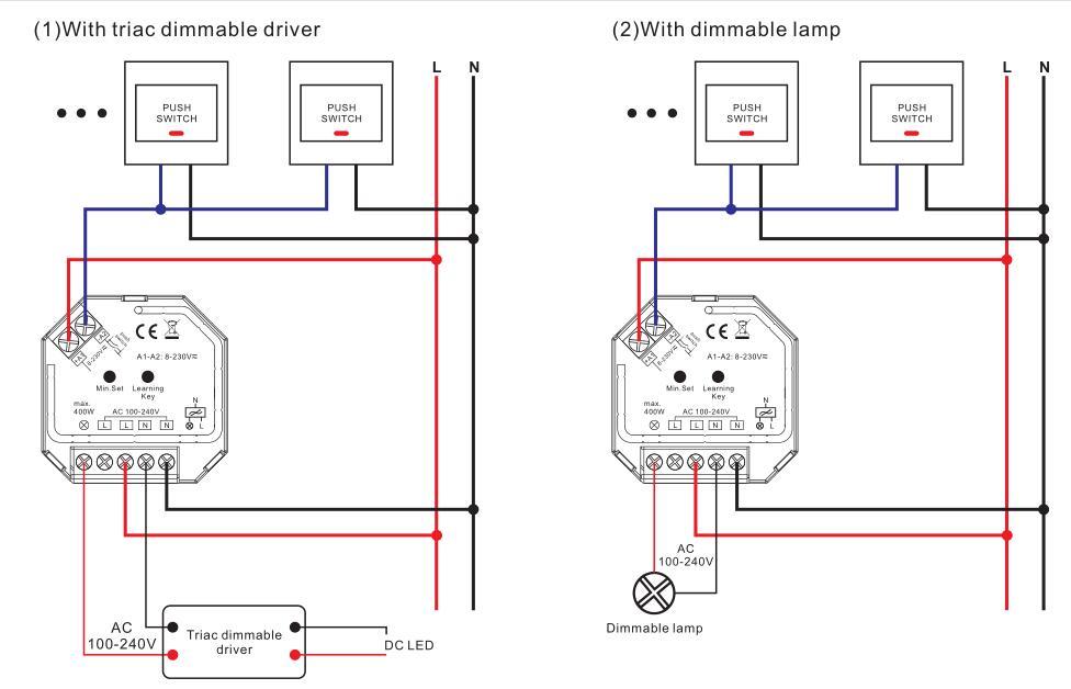 Sunricher Ac Push Dim 400w Rf Triac Dimmer Dimmers Product