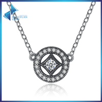 2017 jewelry trends rhodium plating 925 silver round pendant necklace