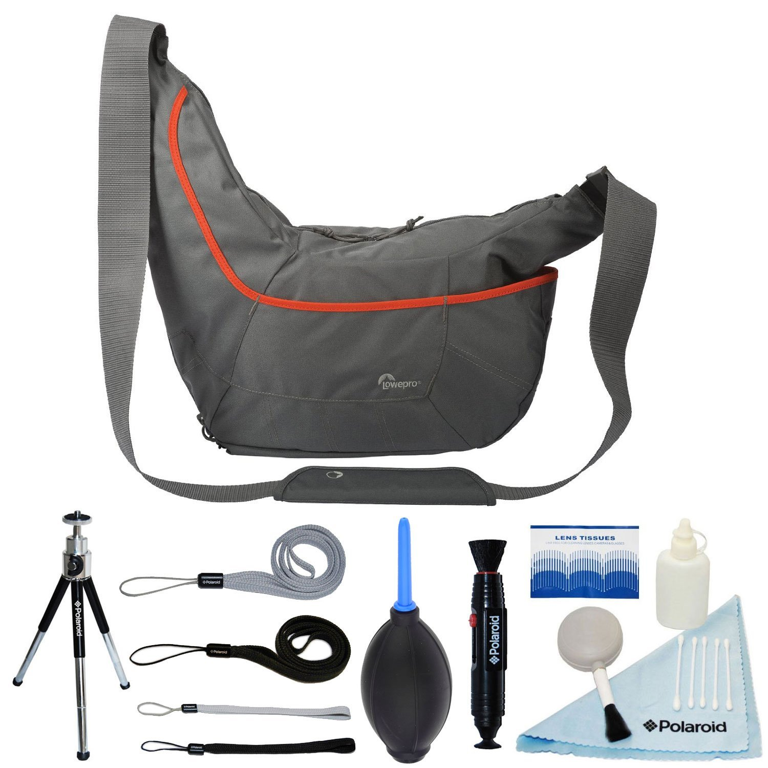 Lowepro Passport Sling III Shoulder Bag / Day-Pack for Camera and For Ordinary Use (Grey) + FREE Polaroid Accessory Bundle