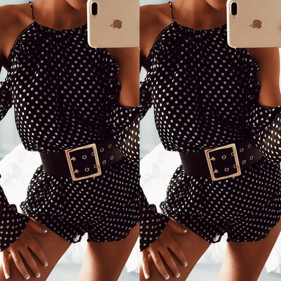 X63191A Women Dotted Two Piece Set 2017 Autumn Off Shoulder Club Party Sets