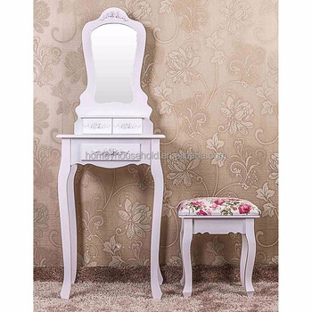 Simple narrow dressing table with light mirror and stool for Narrow dressing table
