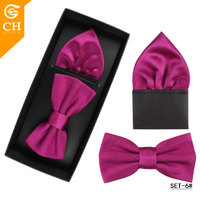 High Quality 2 Pieces Mens Polyester Colorful Plain Pocket Square and Bow Tie Set
