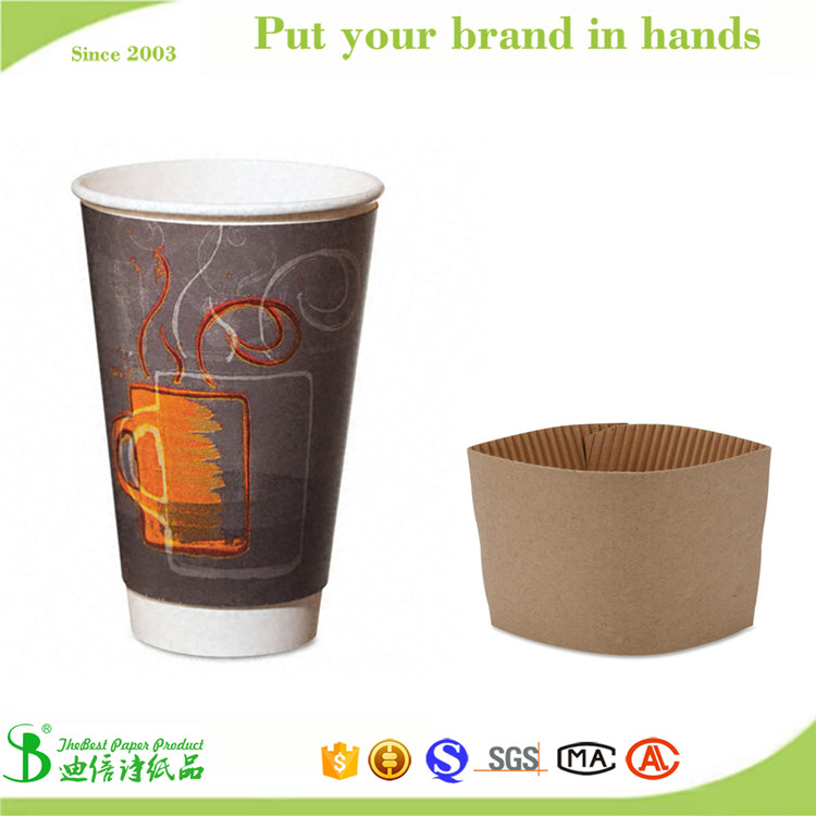 TheBEST anti-scald foaming waterproof 10oz 12oz 14oz 16oz single wall paper cup with sleeve