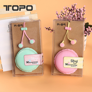 New Coloful headphone Macaron design box gift packing mic volume control mobile in ear earphone for Samsung Android