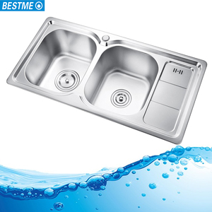 201 Stainless steel top mount double bowl kitchen sink with drainer
