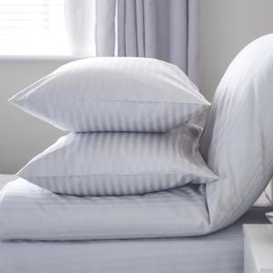 Hotel White Sateen White 10 mm Stripe Pillow Covers