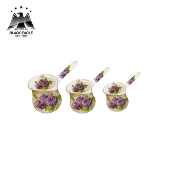 3pcs colorful printed enamel milk warmer pot