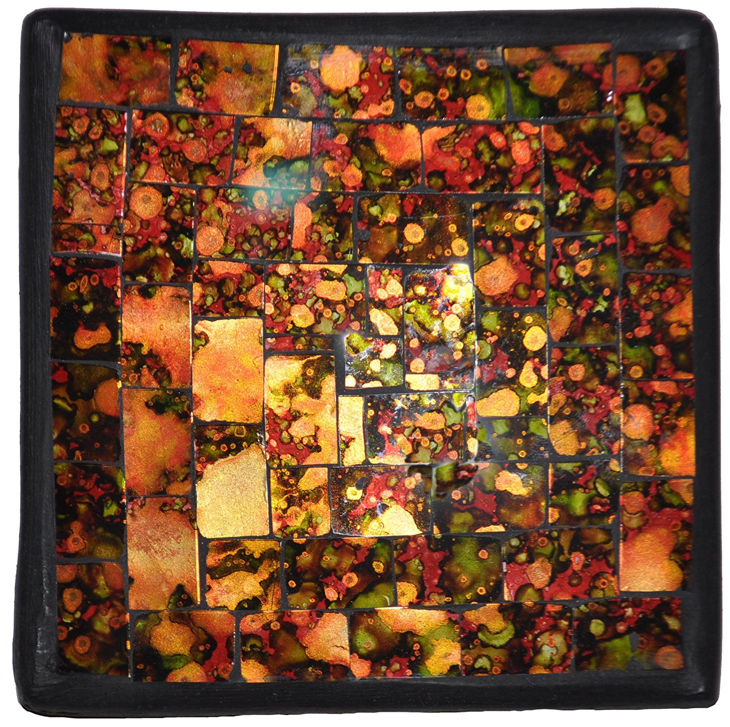 "Mosaic Glass Tray, ""Desert Sunset"", 4.5"" X 4.5"", Color Pattern Will Vary"