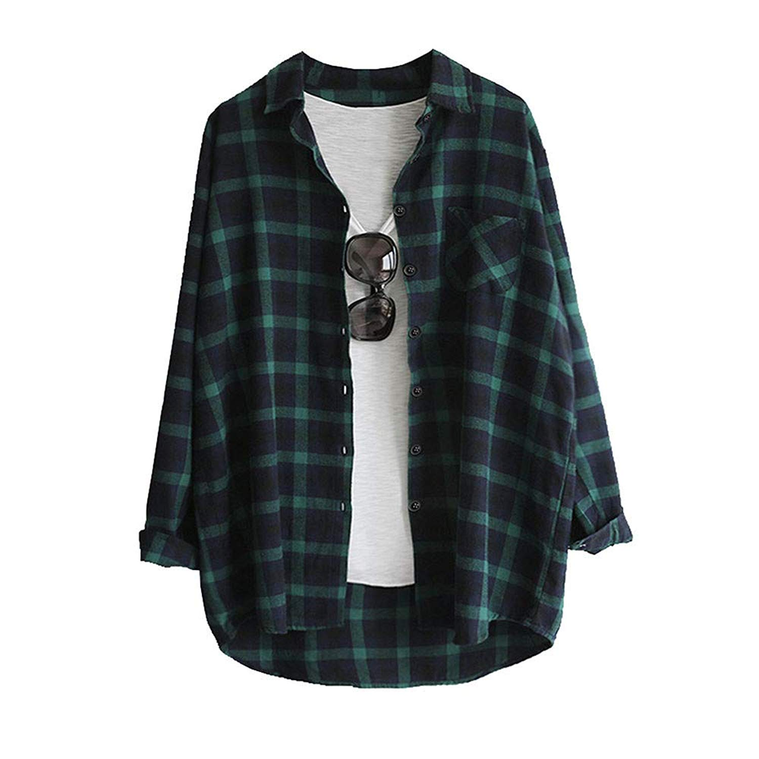 POTO Shirts, Women Long Sleeve Plaid Tunic Shirt,Casual Button Up Tops Blouse T-Shirt Sweatshirt Tee(S-2XL)