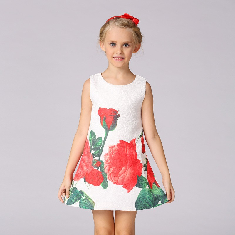 Hot Sale Cheap Children's Clothes Modern Girls Printed Daily Dresses With Good Quality L-113
