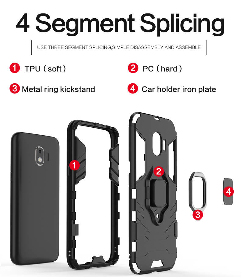 TPU PC metal finger ring holder mobile phone cover case for samsung galaxy j2 pro 2018,case for samsung galaxy grand prime pro