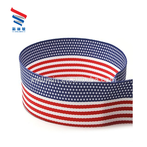 Wholesale custom designer printed american flag Striped grosgrain ribbon by the roll
