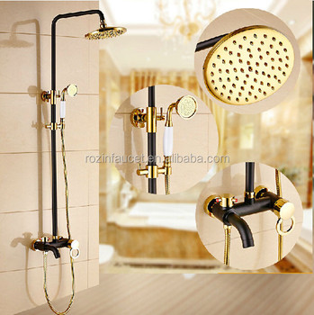 Creative Black & Golden Brass Rainfall Bathroom Shower Tub Faucet Set Wall Mount Single Handle with Handheld Shower