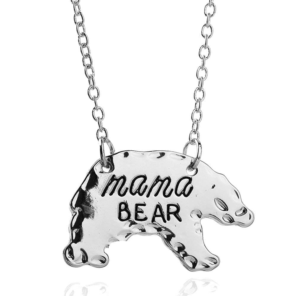 ef1c205d114 Get Quotations · Girls Animal Honey Mama Bear Mother s Day Necklace for Mom  Family Birthday Christmas Gift