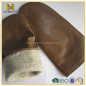 Women's cheap brown sheepskin leather ladies leather mitten