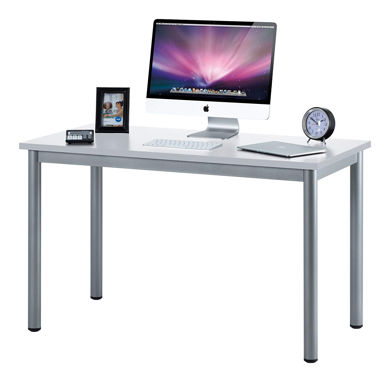 "Fineboard 47"" Home Office Computer Desk Writing Table, White/Gray"