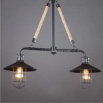 the best attitude 442ed 31e53 Restaurant Vintage Fitting Lamp E27 Factory Filament Hemp Rope Hanging  Double Pendant Light Black Iron Cover Chandelier - Buy Restaurant Lamp ...