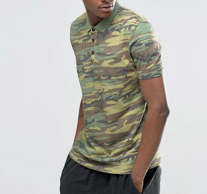 Oem Short Sleeve Men Polo T Shirt Camo Print Custom 100% Polyester