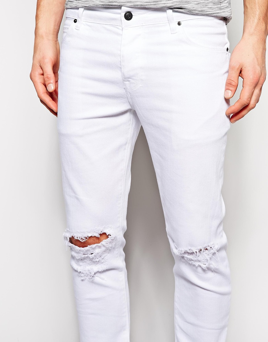 Skinny White Knee Ripped Jeans Men - Buy Ripped Jeans MenWhite