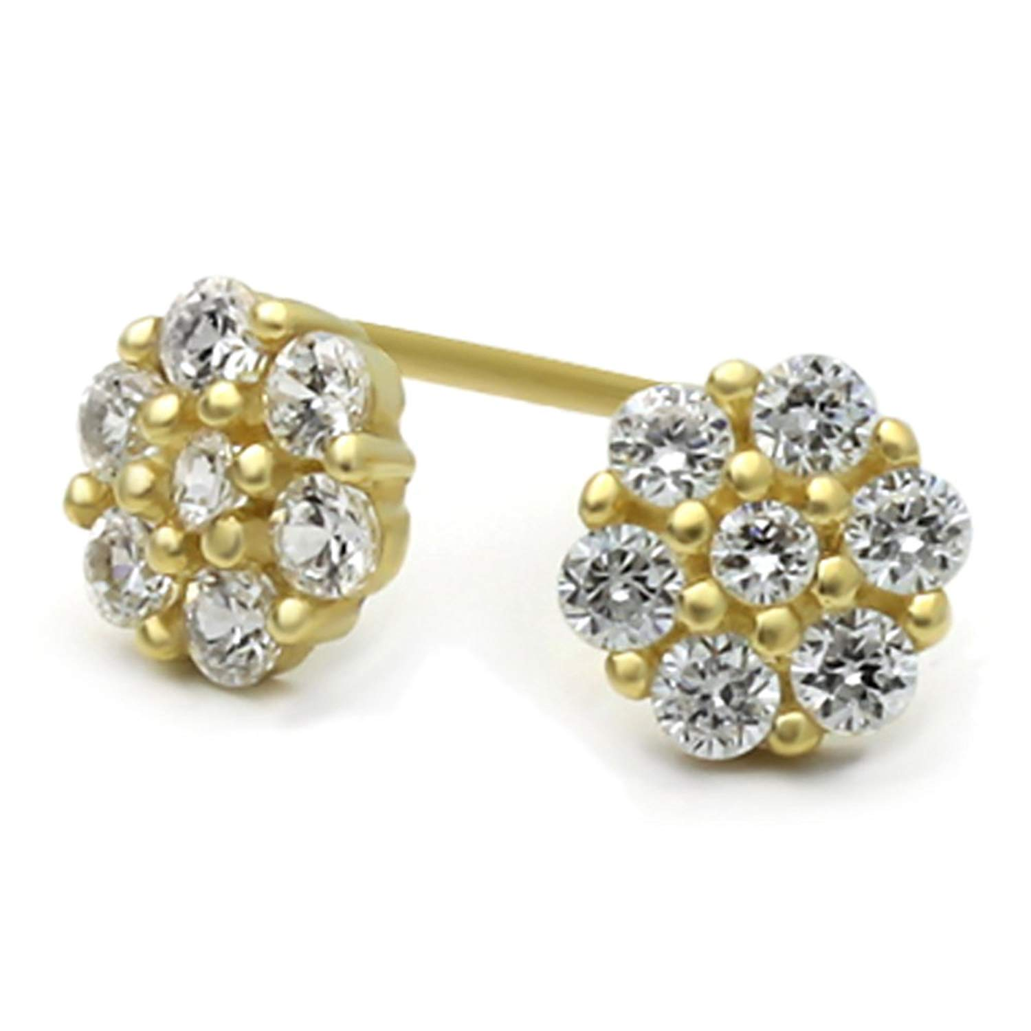 Get Quotations 14k Yellow Gold Round Cubic Zirconia Cer Flower Back Stud Earrings