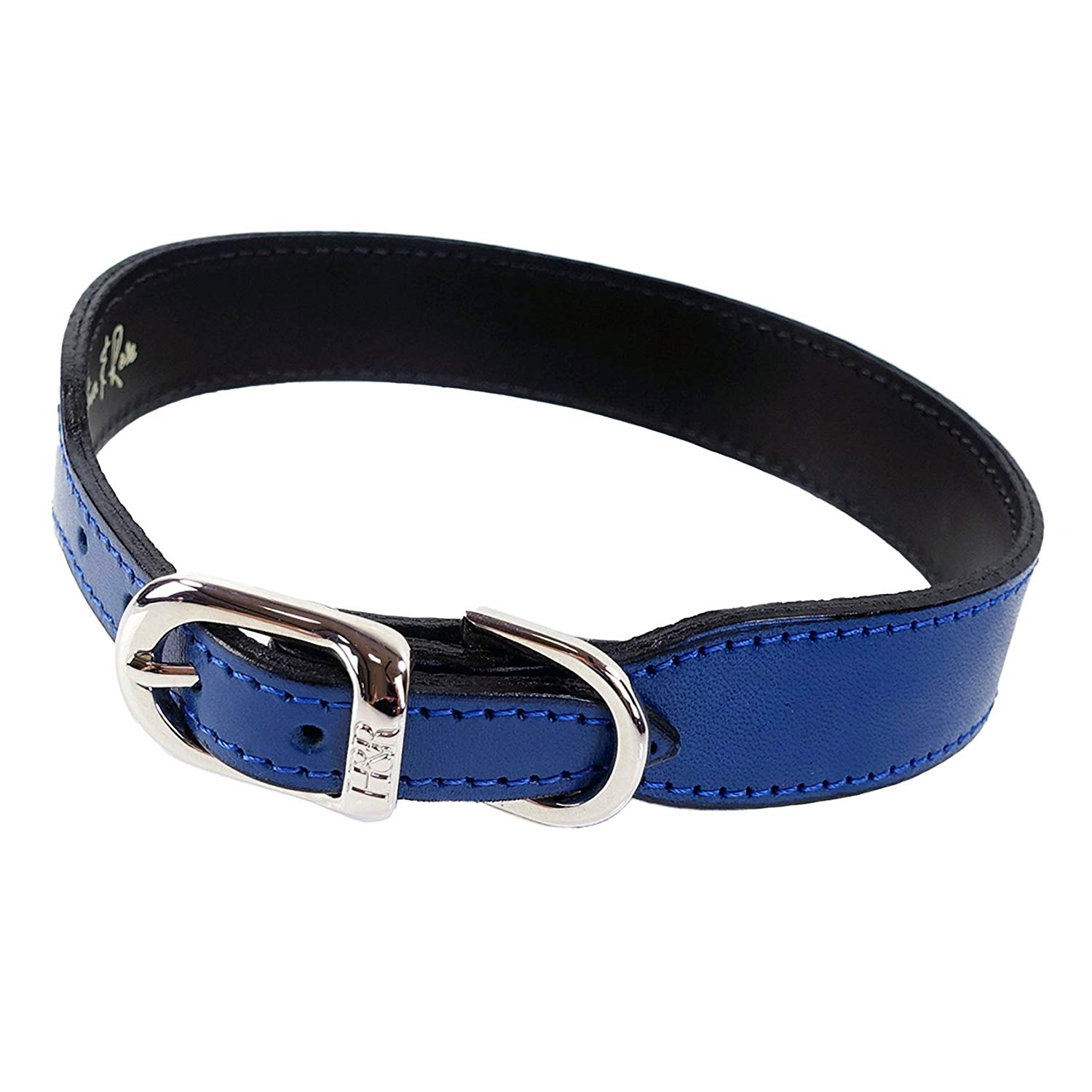 Hartman & Rose Plain Nickel Plated Dog Collar, 14 to 16-Inch, Cobalt Blue