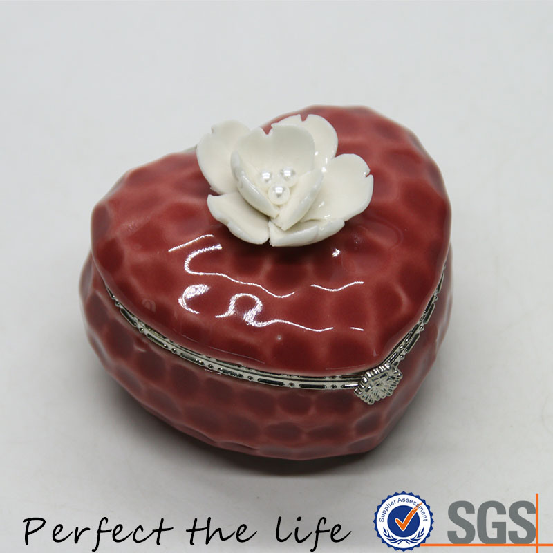 Ceramic pink flower metal ring jewelry holder box