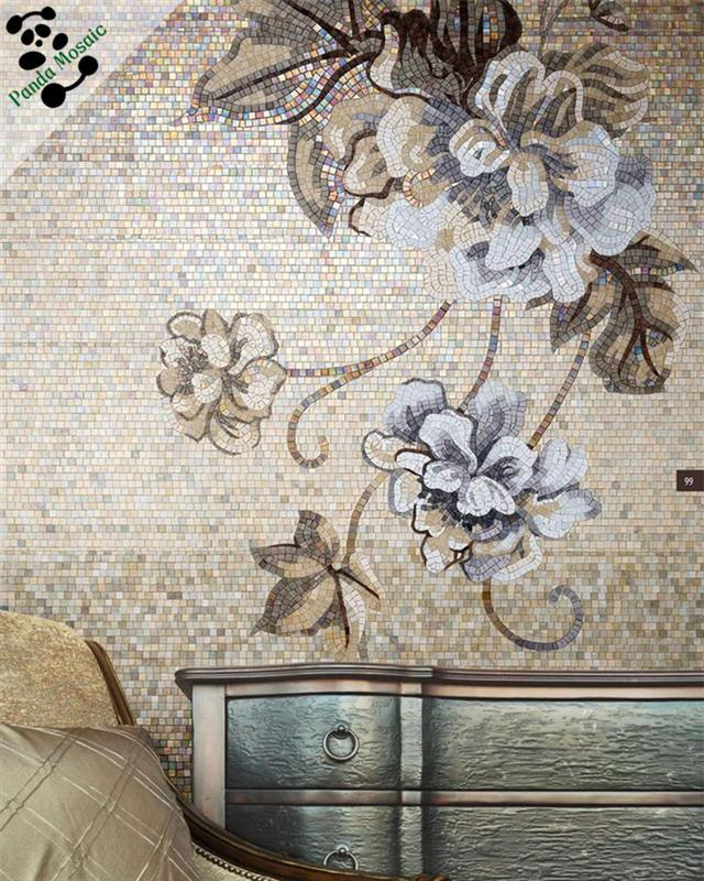 Mosaic floor tile murals wall murals for Bathroom mural wallpaper