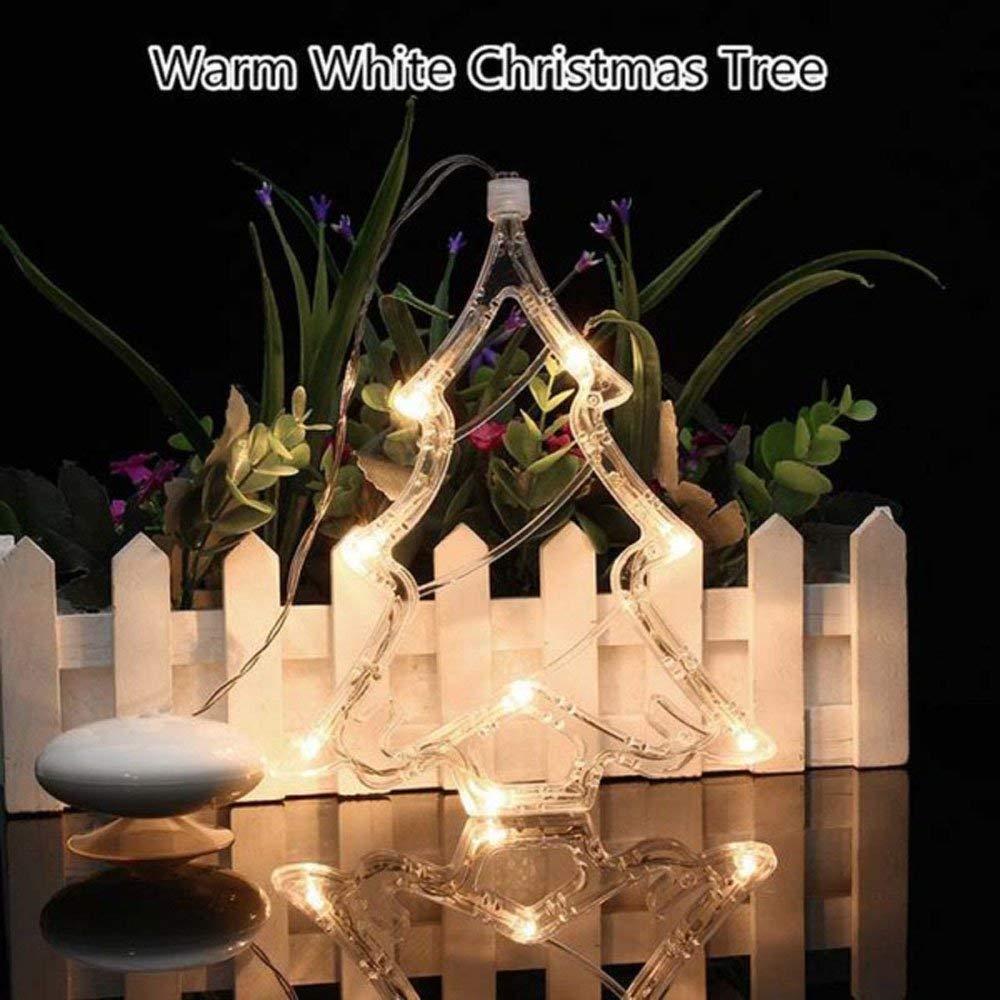 MyEasyShopping Christmas Tree LED Decorative Hanging Light Window Sucker Lamp Warm White
