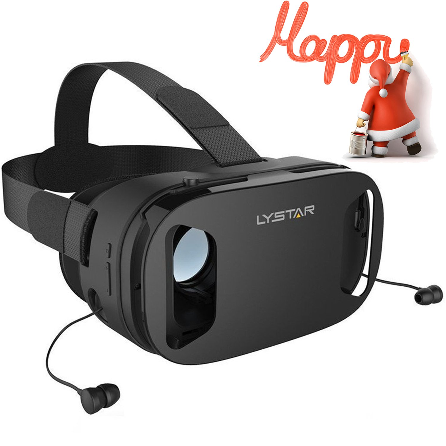 "3D VR Glasses W/Headphones Virtual Reality Headset for VR Games & 3D Movies by LyStar, VR Headset 3D Video Glasses for IOS & Android Smartphones Fit for 4.5""-6.0"", Touch Screen Button Trigger"