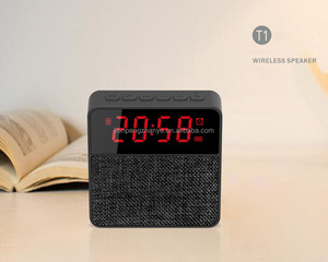 Cloth Fabric Blue Tooth Clock Speaker with Digital LCD Screen Wireless