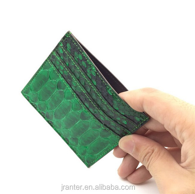 High quality classic simple style genuine python leather credit card holder