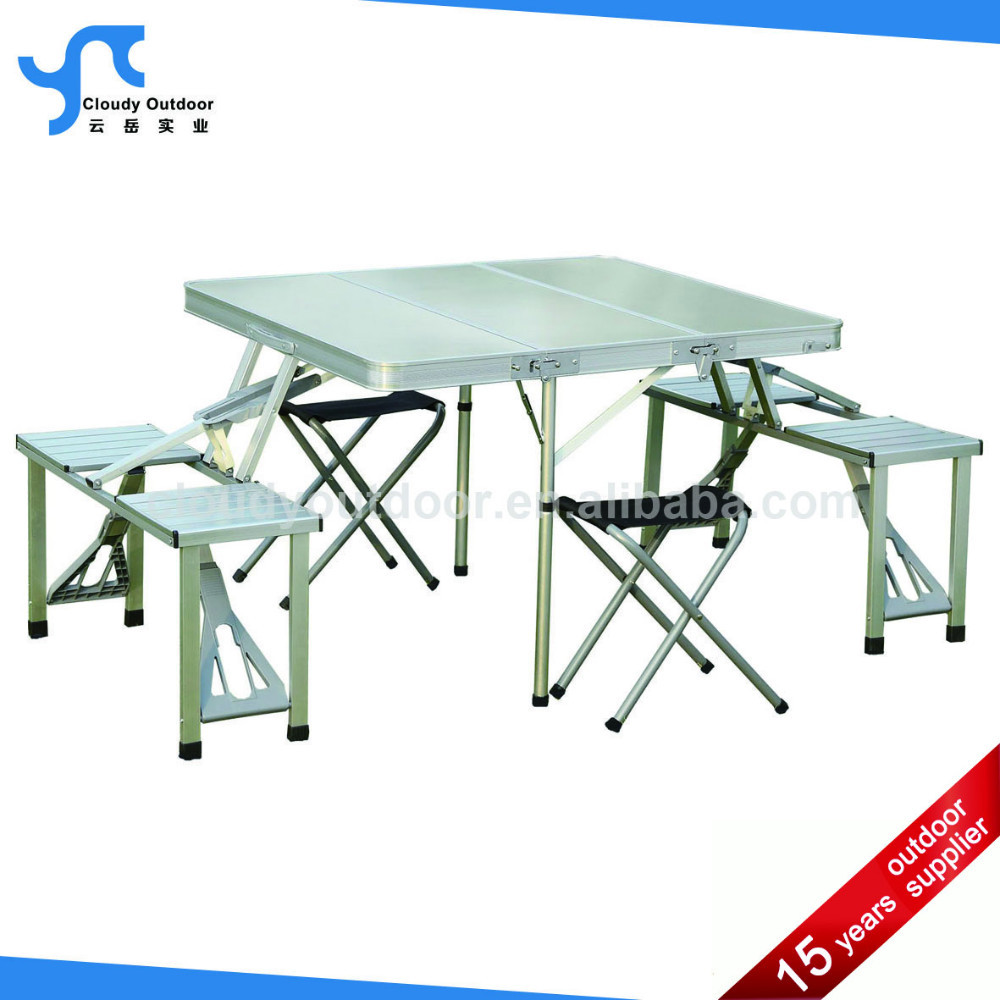 Ext rieure en aluminium pas cher valise pliage table de for Table valise 6 places