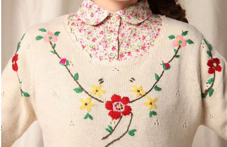 Floral Embroidery Wool Handmade Sweater Design For Girl
