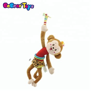 BobearToys wholesale pull string vibrate baby plush toys monkey plush cute crib hanging baby music toys shopping online