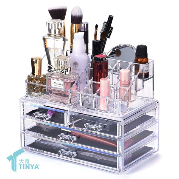 Counter Transparent Makeup Lipstick Storage Organizer 2 Drawers,Wholesale Acrylic Eyeshadow Display Stand Rack With Brush Holder