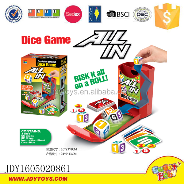 Family fun games set dice game card games
