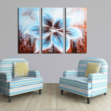 Abstract Style Blue Brown Flowers Modern Decor Oil Painting on Canvas