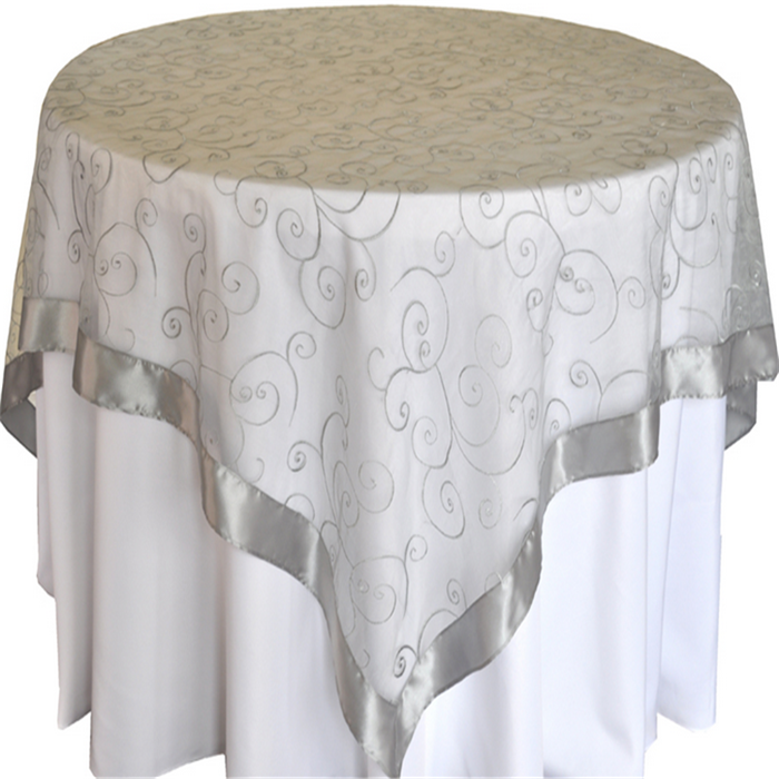 Silver Embroidered Organza China Manufacture Overlay