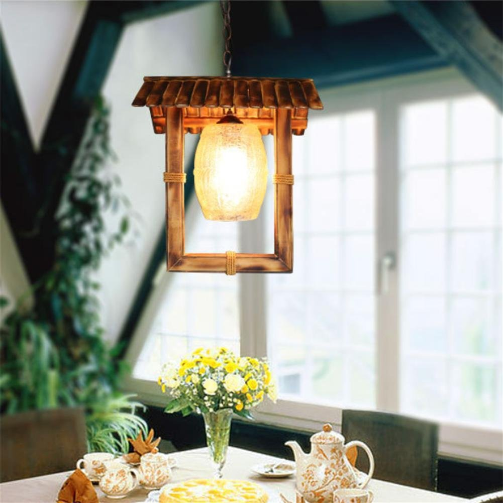 GAO LGDT American country chandeliers, garden bamboo lamp, retro glass bamboo chandeliers 34CM 90CM