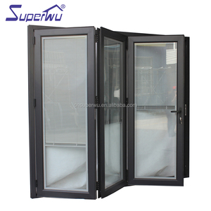 NFRC Canada standard commercial powder coating aluminum glass bi fold door with insert blinds and grids