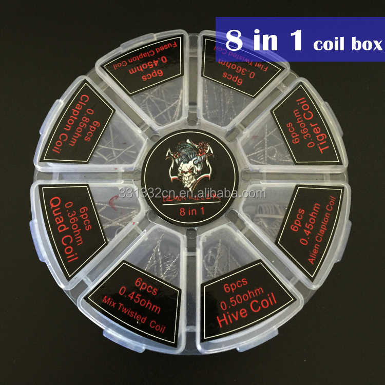 Demon Killer 8 In 1 Prebuilt Coil Box Kit Flat twisted Fused clapton Hive premade wrap wires Alien Mix twisted Tiger Quad