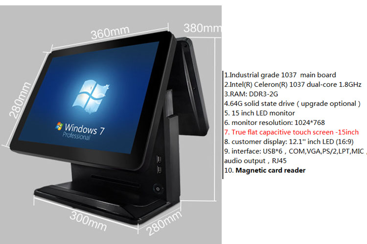 New Model dual screen 12 15 Inch All In One Pos PC With Barcode Scanner/Printer