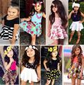 New Summer Girls Suit Kids Baby Girls Clothing Set Children T shirt Flower Skirt 2 pc
