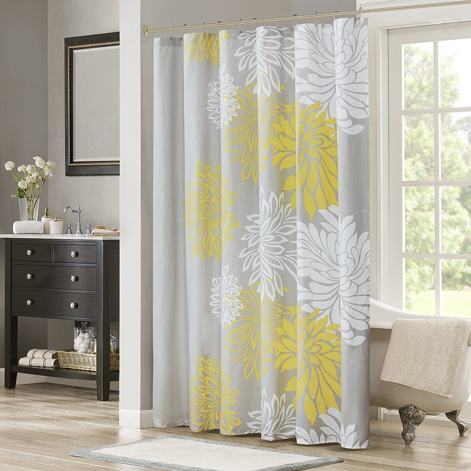 Get Quotations Comfort Spaces Enya Shower Curtain Yellow Grey Floral Printed