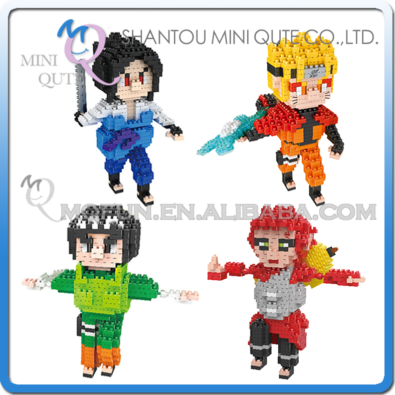 Mini Qute Lele Brother Anime 3d Naruto Sasuke Gaara Rock Lee boy gift block building blocks