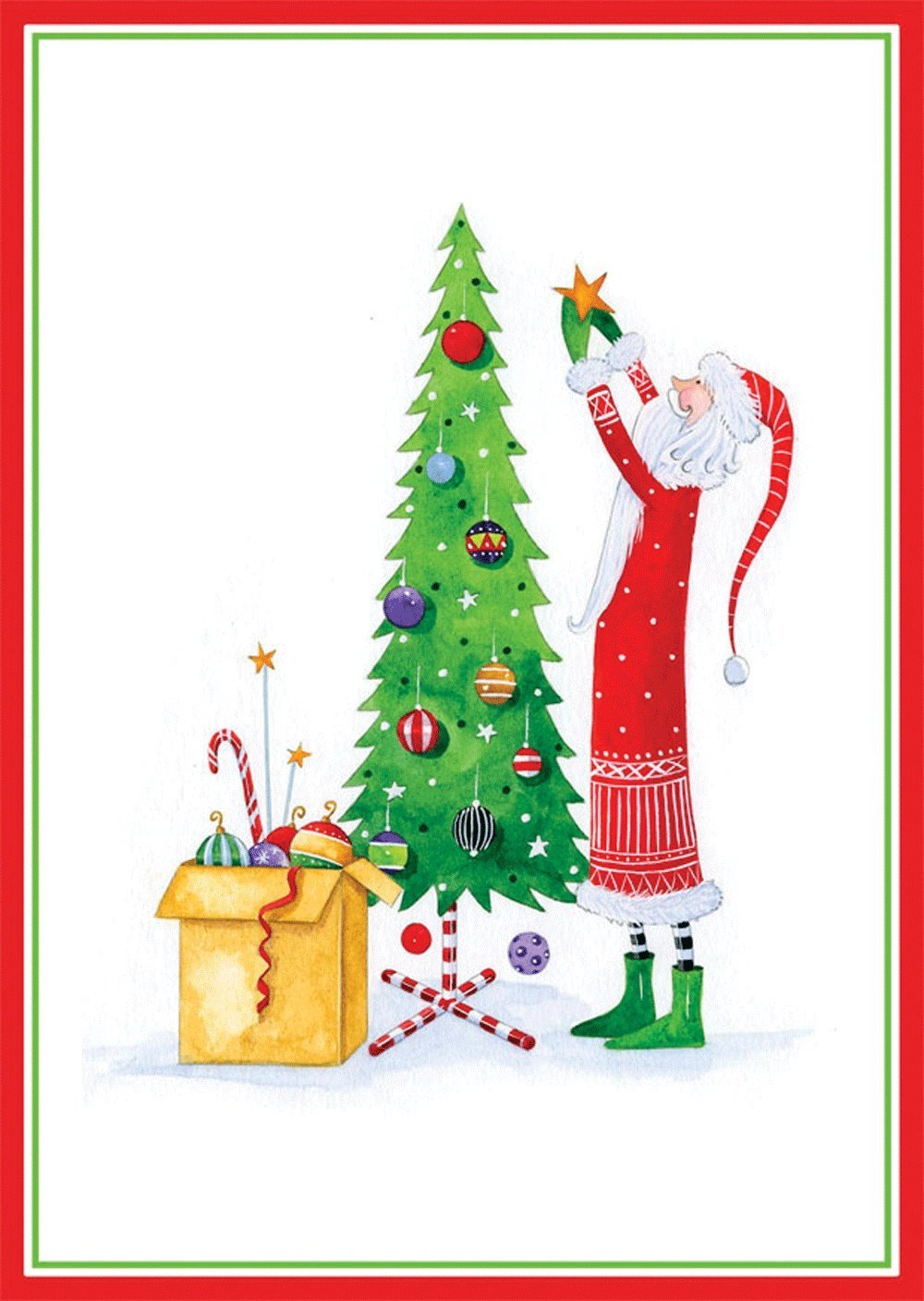 get quotations entertaining with caspari santa decorating tree christmas cards box of 16 red - Cheap Christmas Cards Photo
